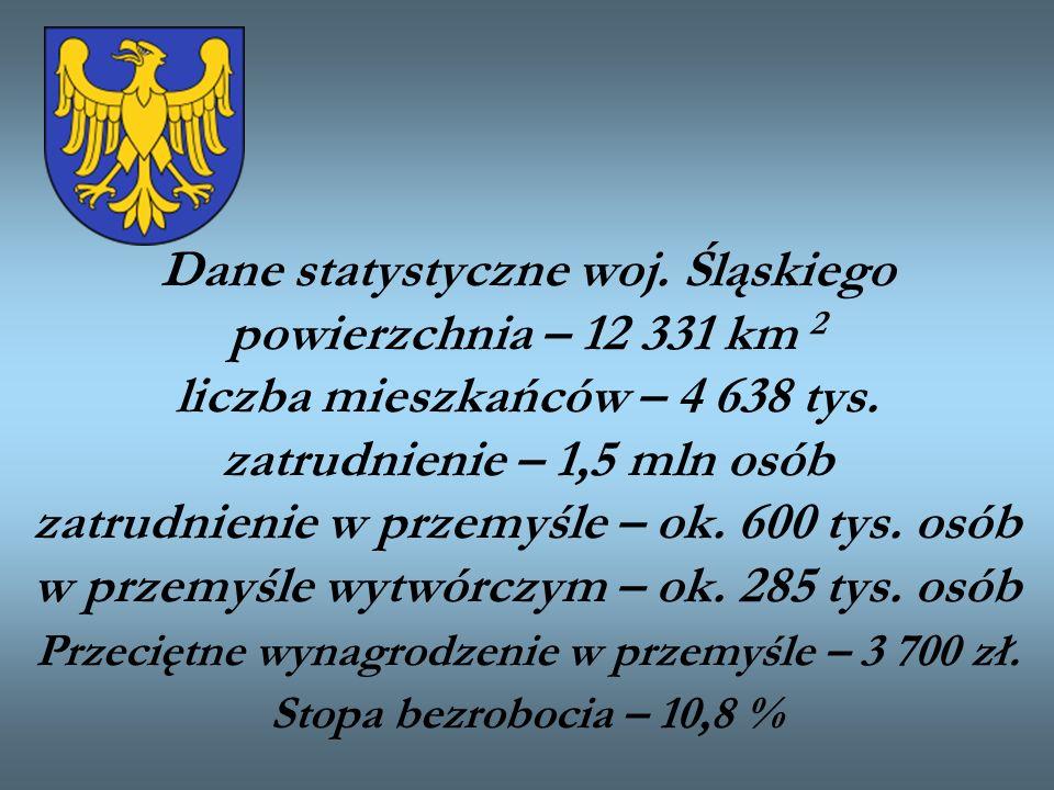 Dane statystyczne woj. Śląskiego powierzchnia – 12 331 km 2 liczba mieszkańców – 4 638 tys.