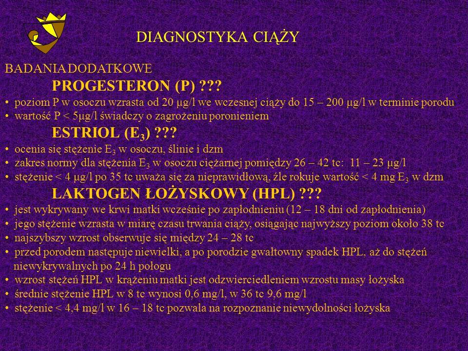 DIAGNOSTYKA CIĄŻY BADANIA DODATKOWE PROGESTERON (P)