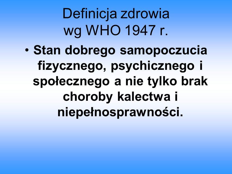 Definicja zdrowia wg WHO 1947 r.