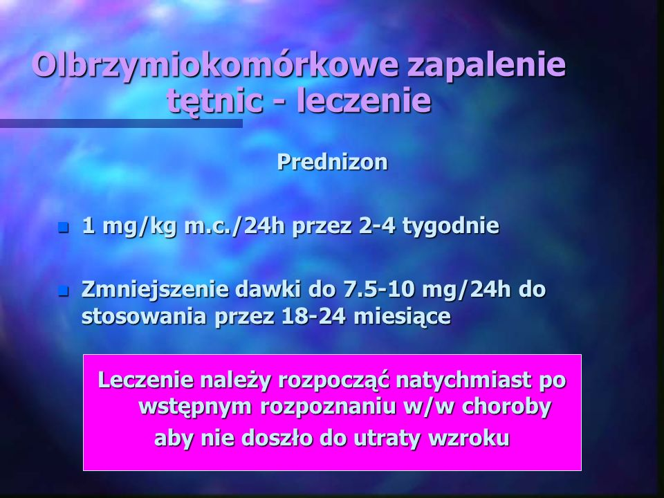 Olbrzymiokomórkowe zapalenie tętnic - leczenie