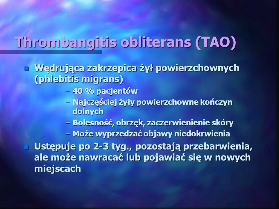 Thrombangitis obliterans (TAO)