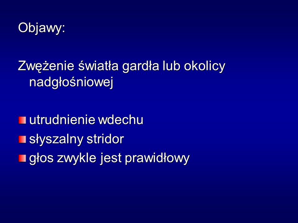 Objawy: Zwężenie światła gardła lub okolicy nadgłośniowej. utrudnienie wdechu. słyszalny stridor.