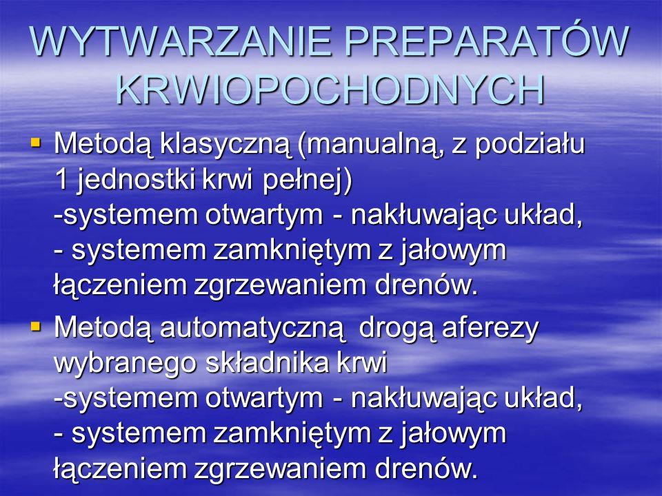 WYTWARZANIE PREPARATÓW KRWIOPOCHODNYCH