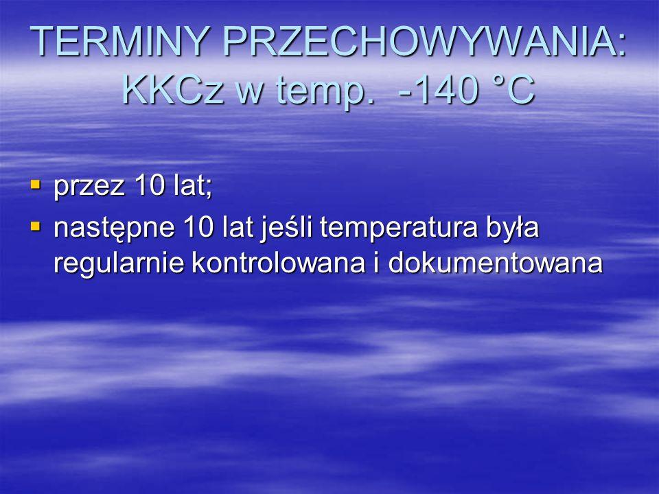TERMINY PRZECHOWYWANIA: KKCz w temp. -140 °C
