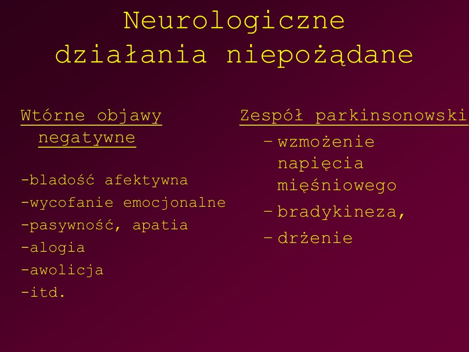 Neurologiczne działania niepożądane