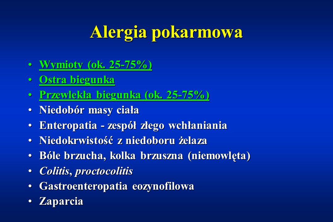 Alergia pokarmowa Wymioty (ok. 25-75%) Ostra biegunka