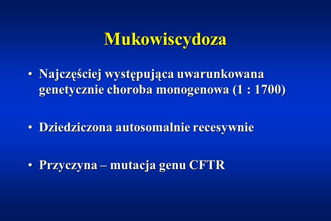 Mukowiscydoza Najczęściej występująca uwarunkowana genetycznie choroba monogenowa (1 : 1700) Dziedziczona autosomalnie recesywnie.