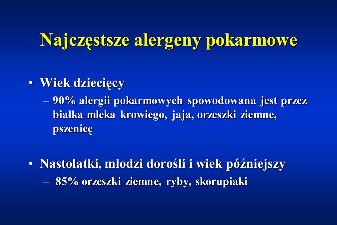 Najczęstsze alergeny pokarmowe