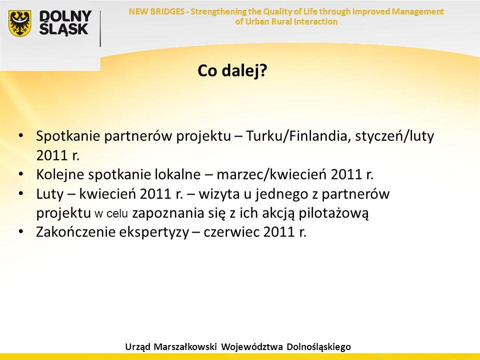 Co dalej Spotkanie partnerów projektu – Turku/Finlandia, styczeń/luty 2011 r. Kolejne spotkanie lokalne – marzec/kwiecień 2011 r.