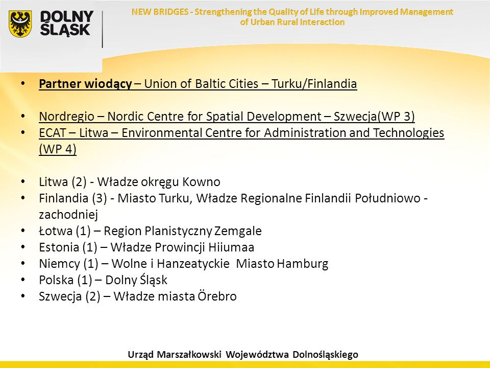 Partner wiodący – Union of Baltic Cities – Turku/Finlandia