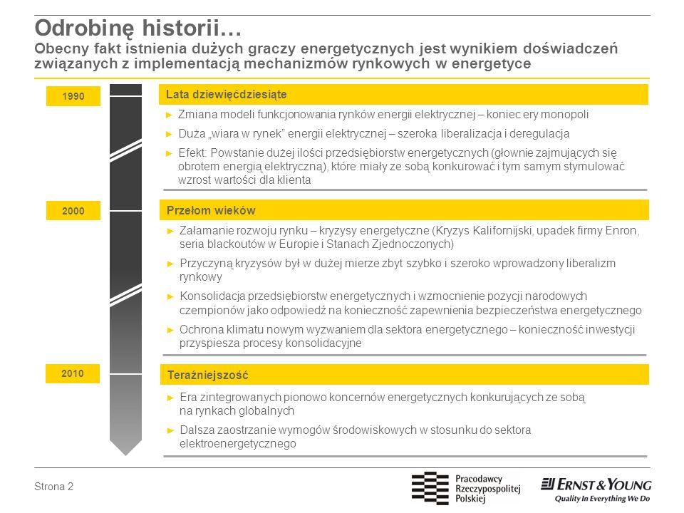 Odrobinę historii… Obecny fakt istnienia dużych graczy energetycznych jest wynikiem doświadczeń związanych z implementacją mechanizmów rynkowych w energetyce