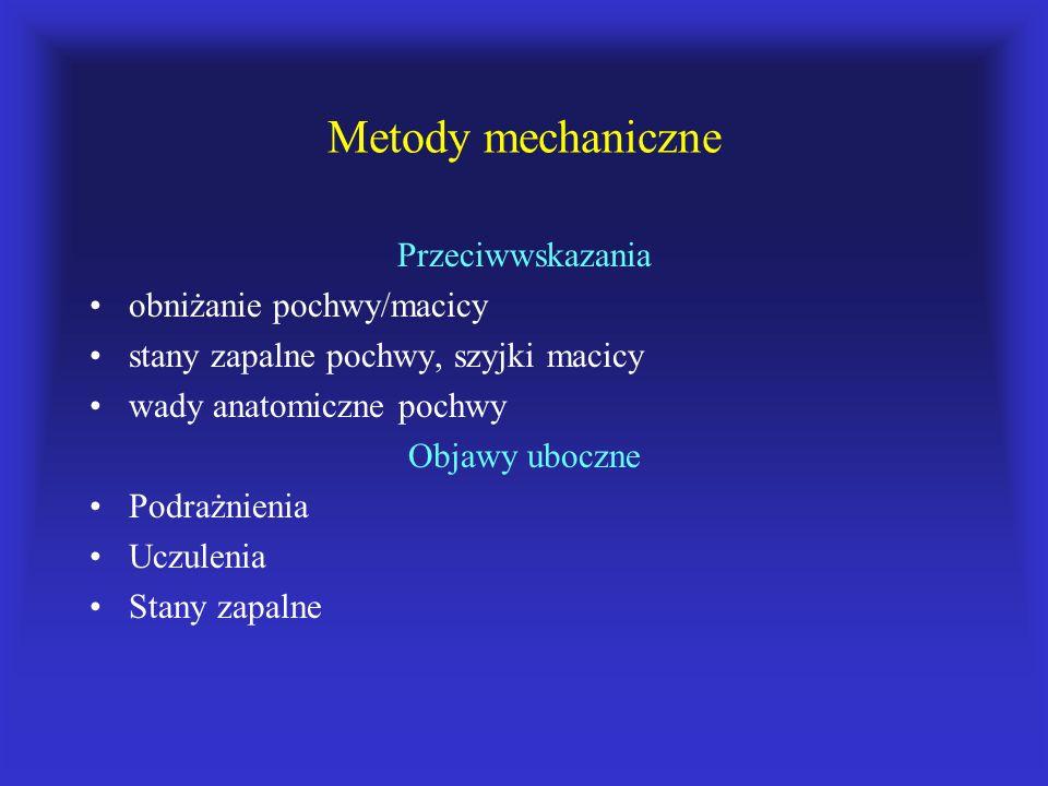 Metody mechaniczne Przeciwwskazania obniżanie pochwy/macicy