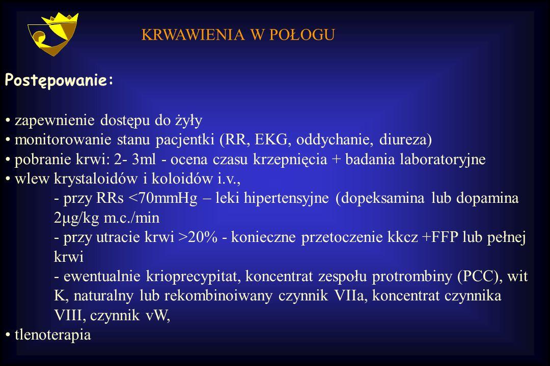 KRWAWIENIA W POŁOGU Postępowanie: zapewnienie dostępu do żyły. monitorowanie stanu pacjentki (RR, EKG, oddychanie, diureza)