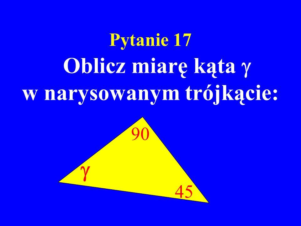w narysowanym trójkącie: