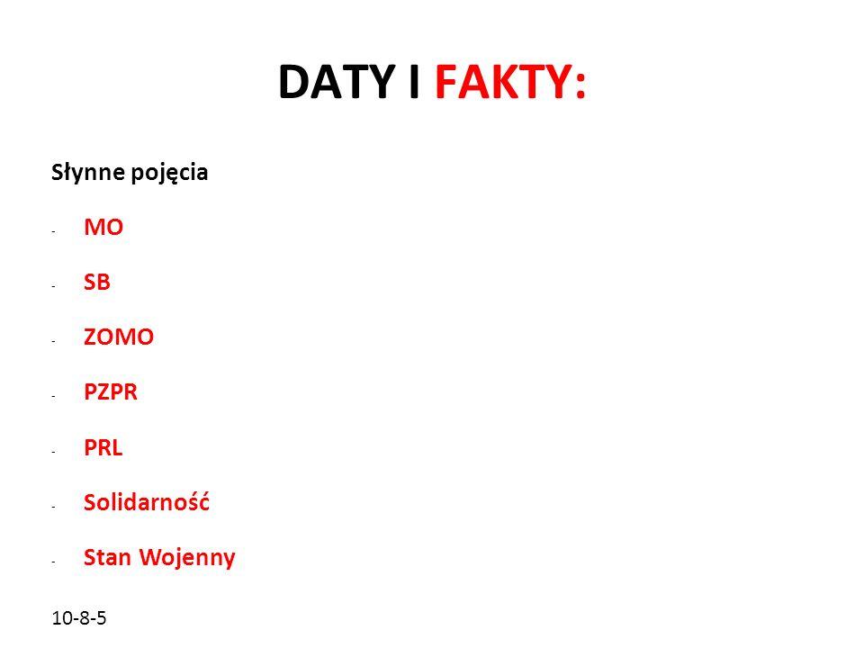 DATY I FAKTY: Słynne pojęcia MO SB ZOMO PZPR PRL Solidarność