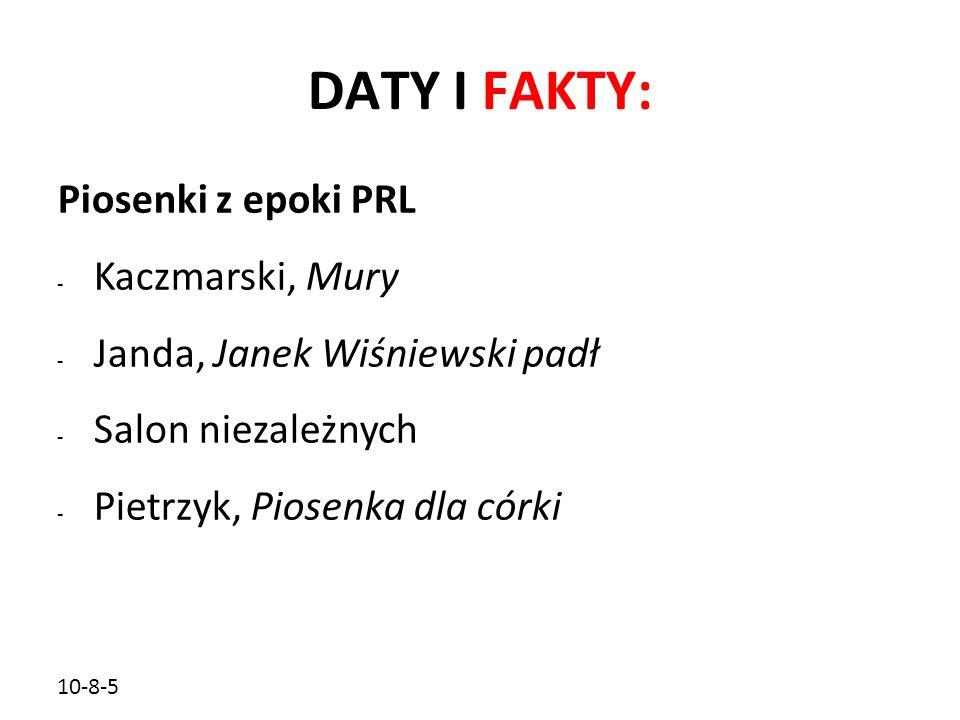 DATY I FAKTY: Piosenki z epoki PRL Kaczmarski, Mury
