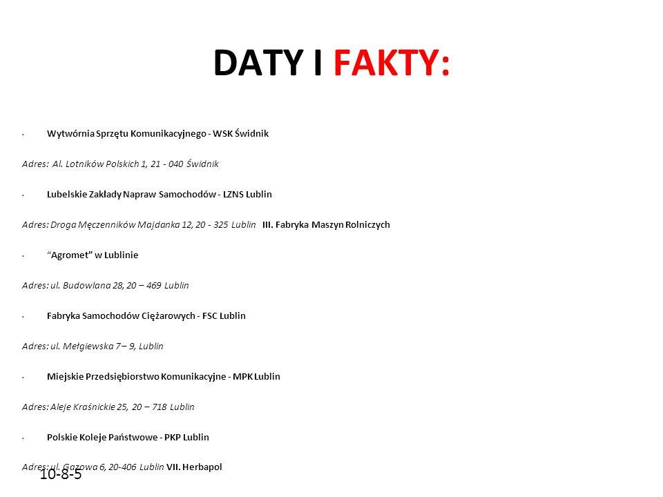 DATY I FAKTY: 10-8-5 Wytwórnia Sprzętu Komunikacyjnego - WSK Świdnik