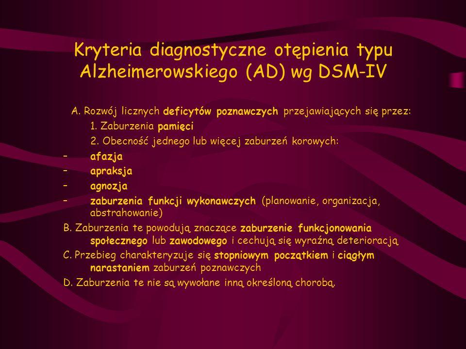 Kryteria diagnostyczne otępienia typu Alzheimerowskiego (AD) wg DSM-IV
