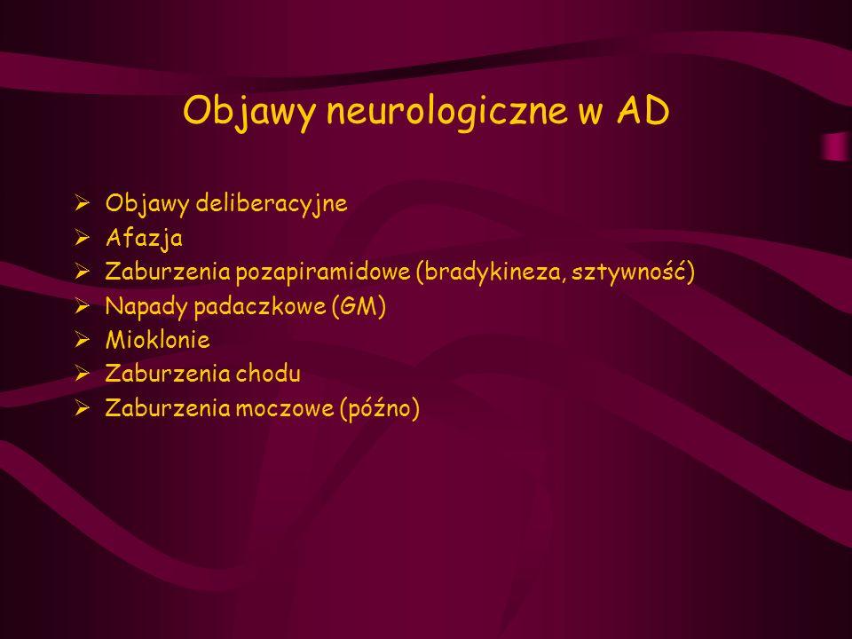 Objawy neurologiczne w AD