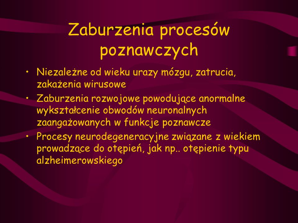 Zaburzenia procesów poznawczych