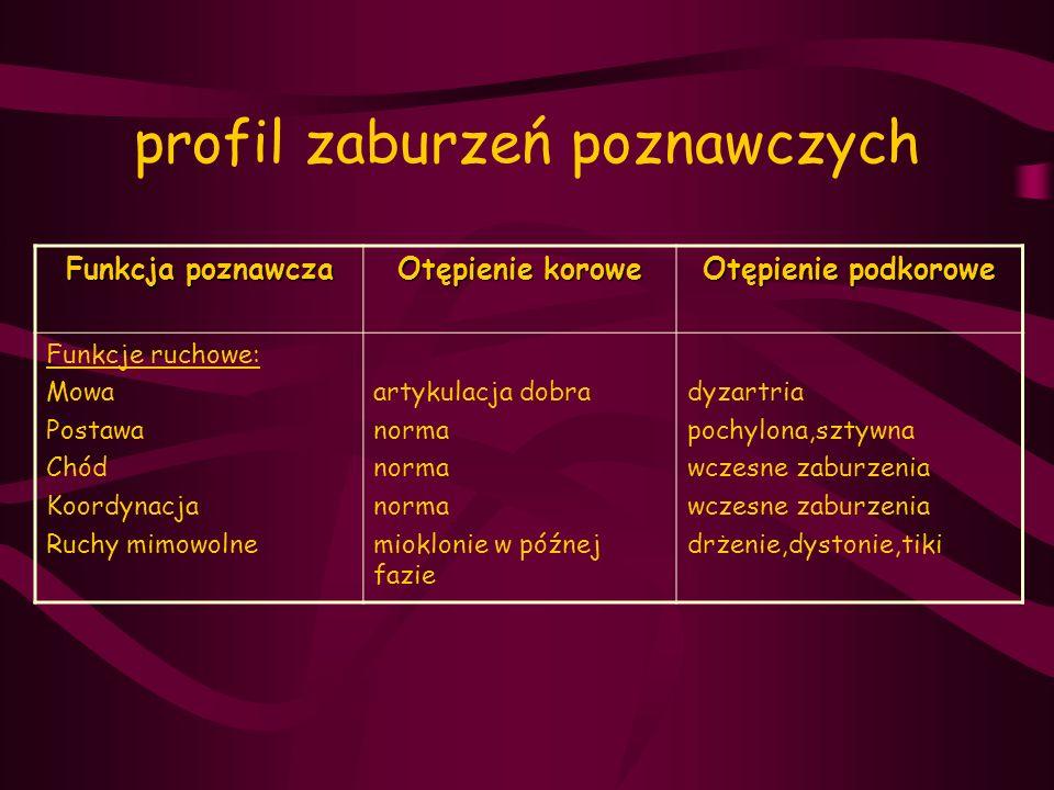 profil zaburzeń poznawczych