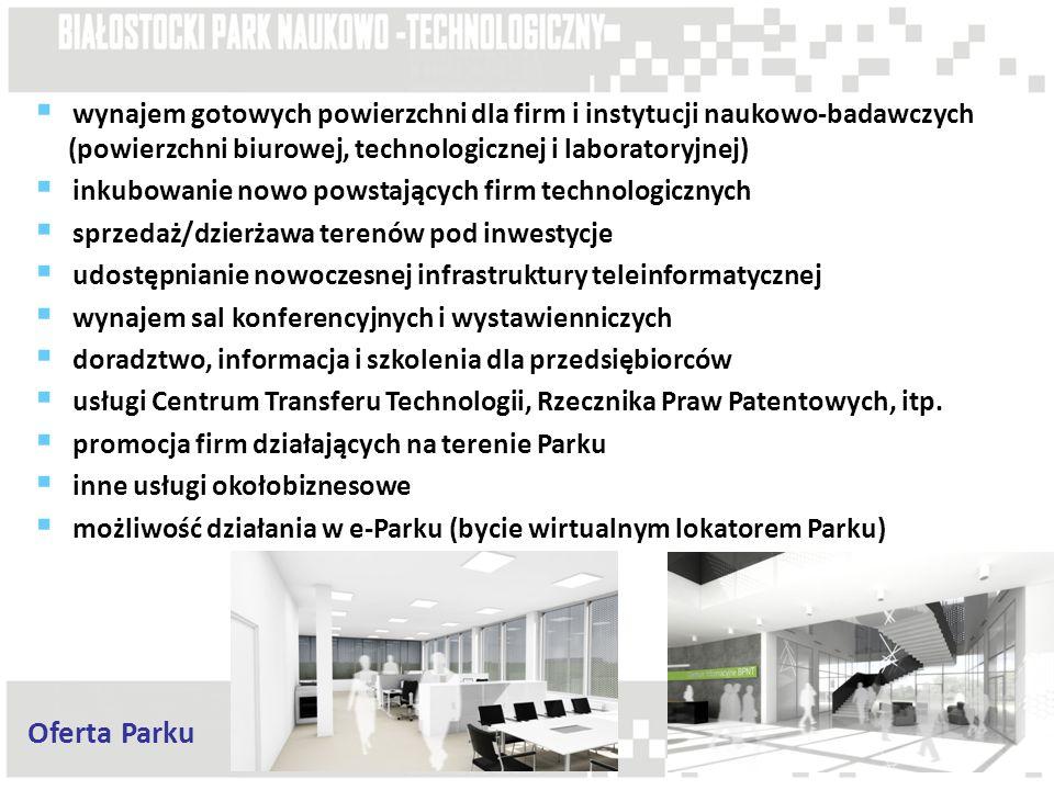 wynajem gotowych powierzchni dla firm i instytucji naukowo-badawczych (powierzchni biurowej, technologicznej i laboratoryjnej)