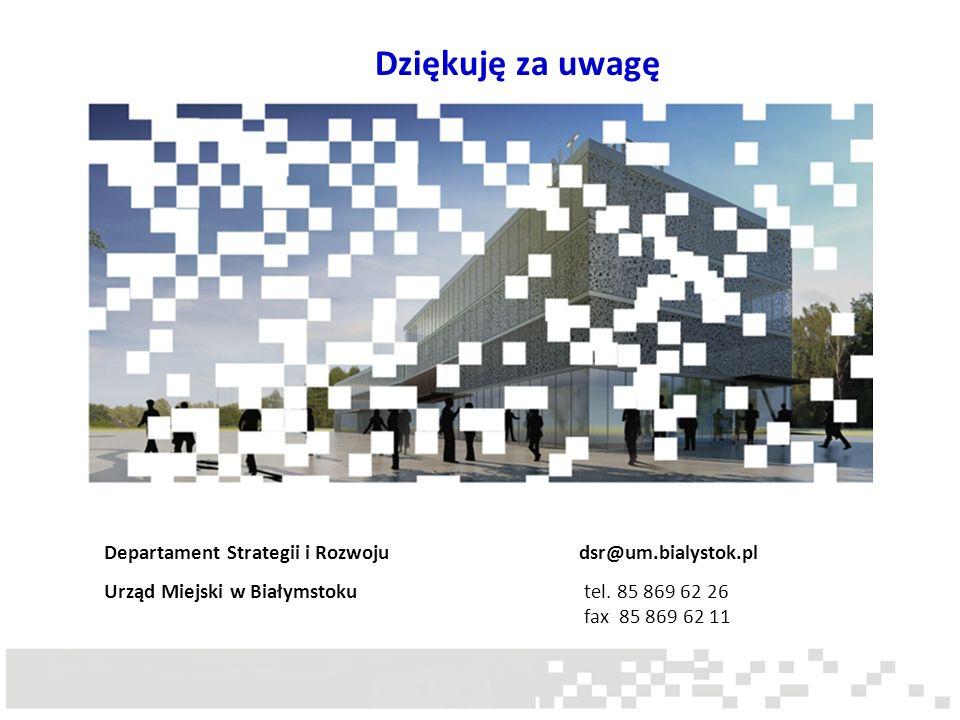 Dziękuję za uwagę Departament Strategii i Rozwoju dsr@um.bialystok.pl