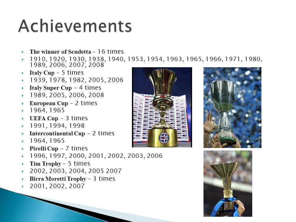 Achievements The winner of Scudetta – 16 times
