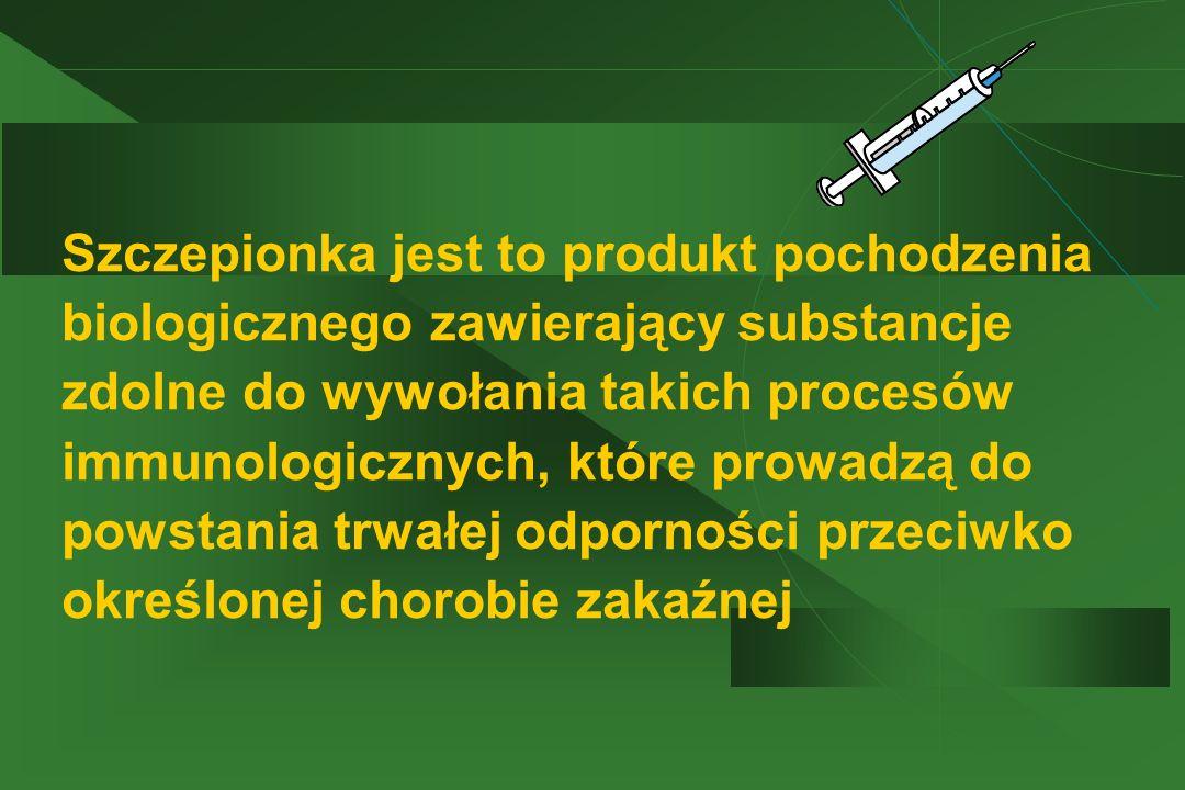 Szczepionka jest to produkt pochodzenia biologicznego zawierający substancje zdolne do wywołania takich procesów immunologicznych, które prowadzą do powstania trwałej odporności przeciwko określonej chorobie zakaźnej