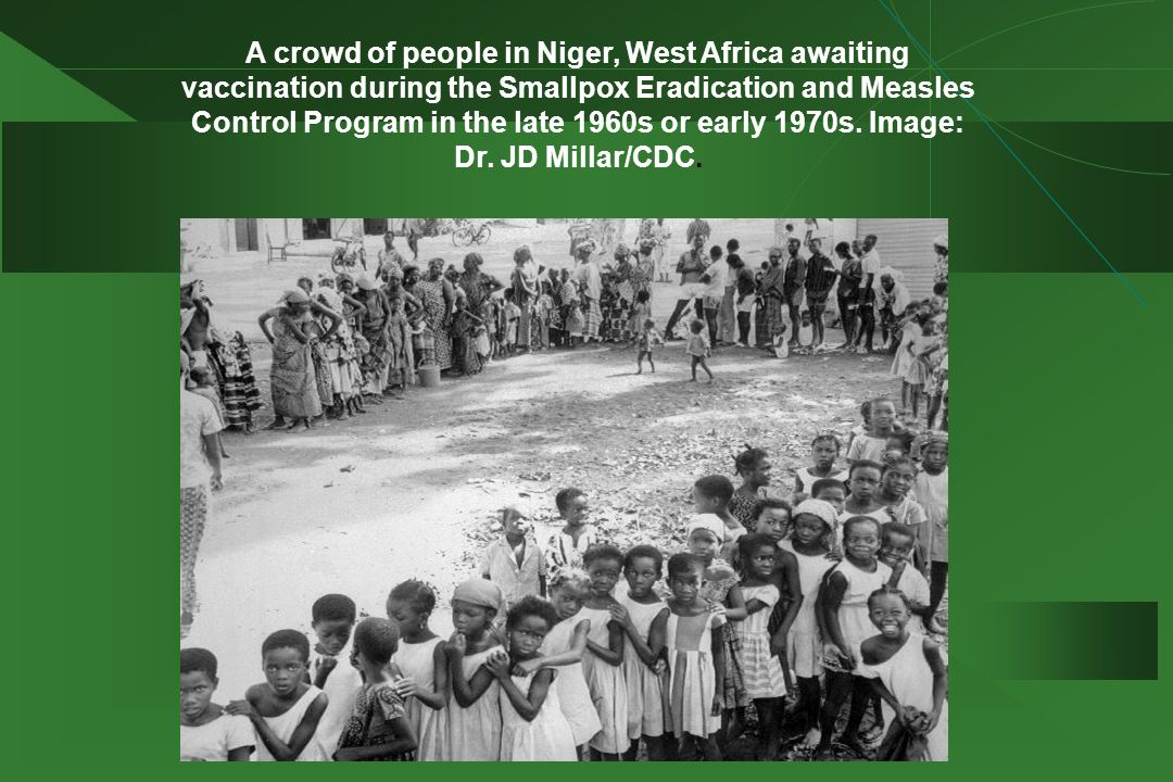 A crowd of people in Niger, West Africa awaiting vaccination during the Smallpox Eradication and Measles Control Program in the late 1960s or early 1970s.