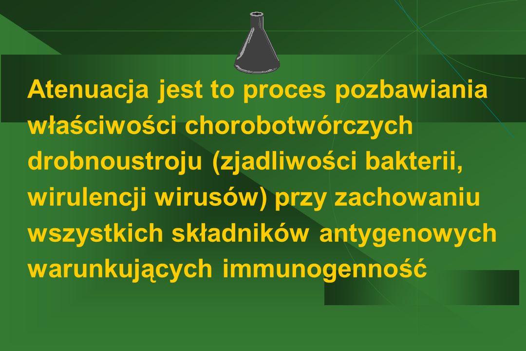 Atenuacja jest to proces pozbawiania właściwości chorobotwórczych drobnoustroju (zjadliwości bakterii, wirulencji wirusów) przy zachowaniu wszystkich składników antygenowych warunkujących immunogenność