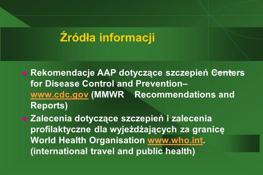 Źródła informacji Rekomendacje AAP dotyczące szczepień Centers for Disease Control and Prevention– www.cdc.gov (MMWR Recommendations and Reports)
