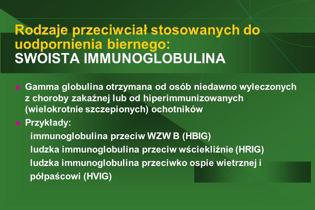 Rodzaje przeciwciał stosowanych do uodpornienia biernego: SWOISTA IMMUNOGLOBULINA