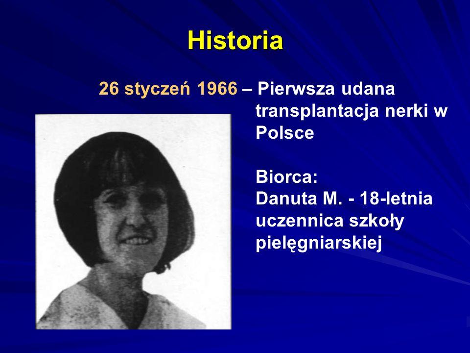 Historia 26 styczeń 1966 – Pierwsza udana transplantacja nerki w Polsce Biorca: Danuta M.