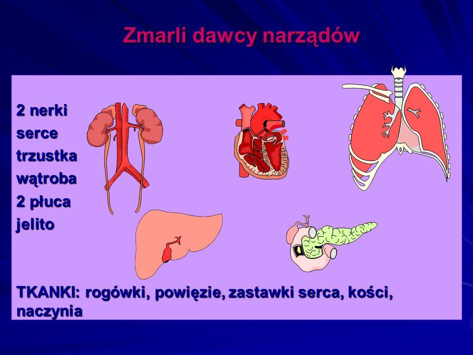 Zmarli dawcy narządów 2 nerki serce trzustka wątroba 2 płuca jelito