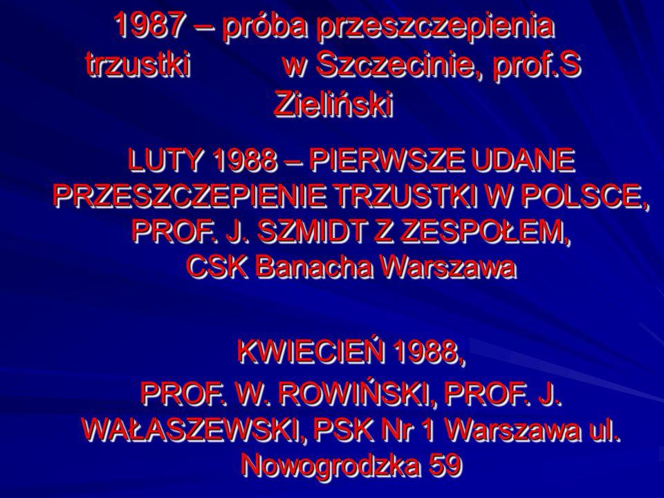 1987 – próba przeszczepienia trzustki w Szczecinie, prof.S Zieliński