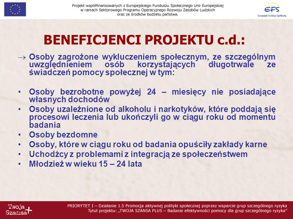 BENEFICJENCI PROJEKTU c.d.: