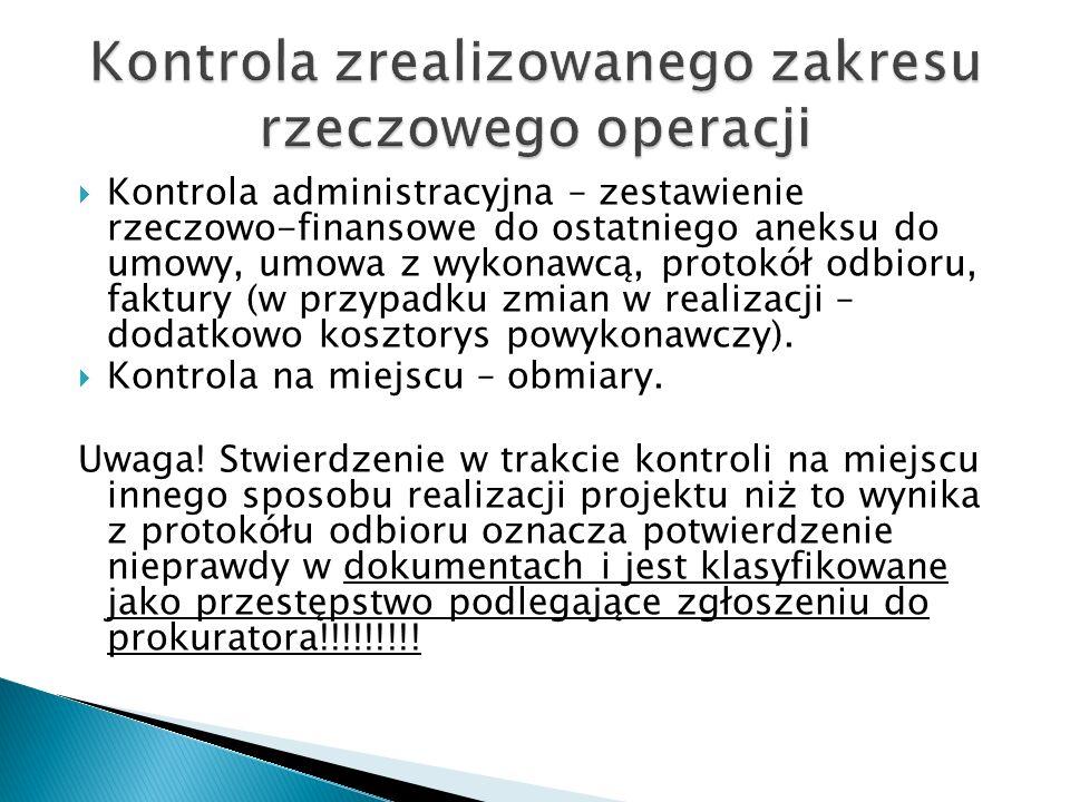Kontrola zrealizowanego zakresu rzeczowego operacji