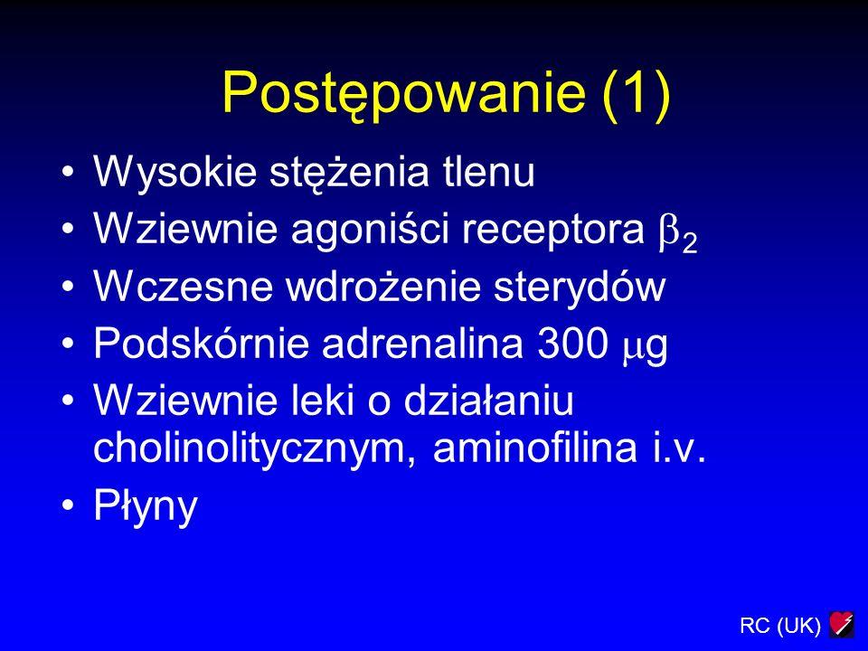 Postępowanie (1) Wysokie stężenia tlenu Wziewnie agoniści receptora 2