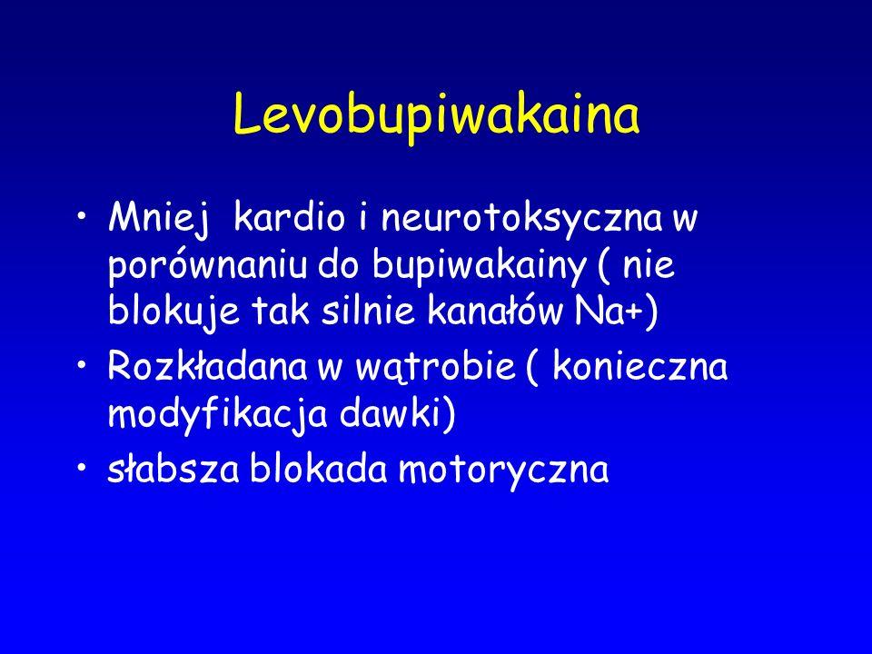 Levobupiwakaina Mniej kardio i neurotoksyczna w porównaniu do bupiwakainy ( nie blokuje tak silnie kanałów Na+)
