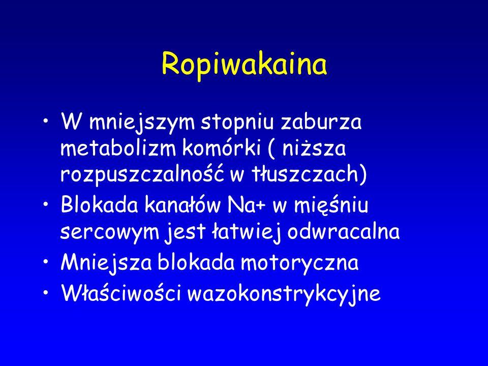 Ropiwakaina W mniejszym stopniu zaburza metabolizm komórki ( niższa rozpuszczalność w tłuszczach)