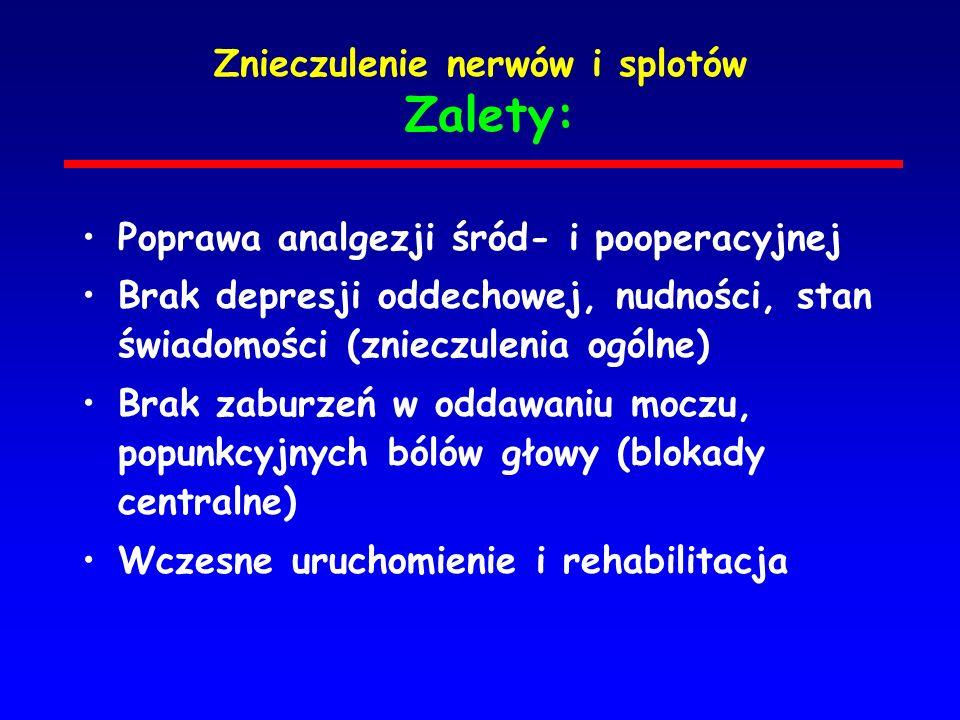 Znieczulenie nerwów i splotów Zalety: