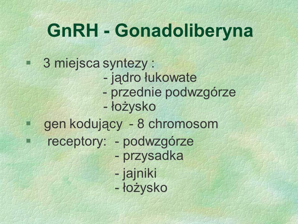 GnRH - Gonadoliberyna 3 miejsca syntezy : - jądro łukowate - przednie podwzgórze - łożysko.