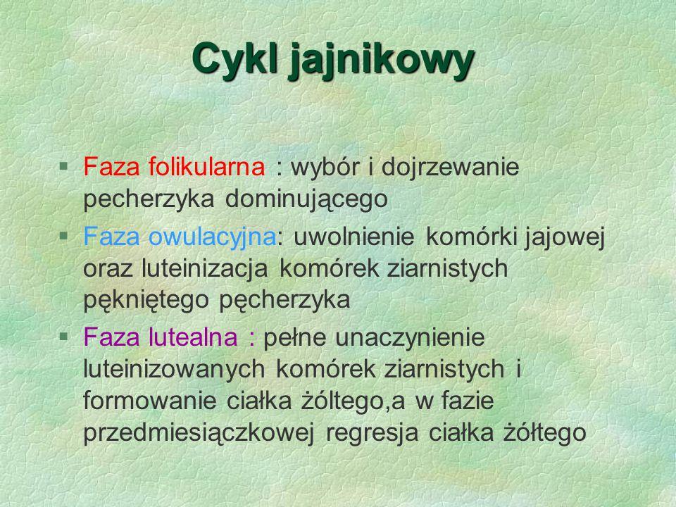 Cykl jajnikowy Faza folikularna : wybór i dojrzewanie pecherzyka dominującego.