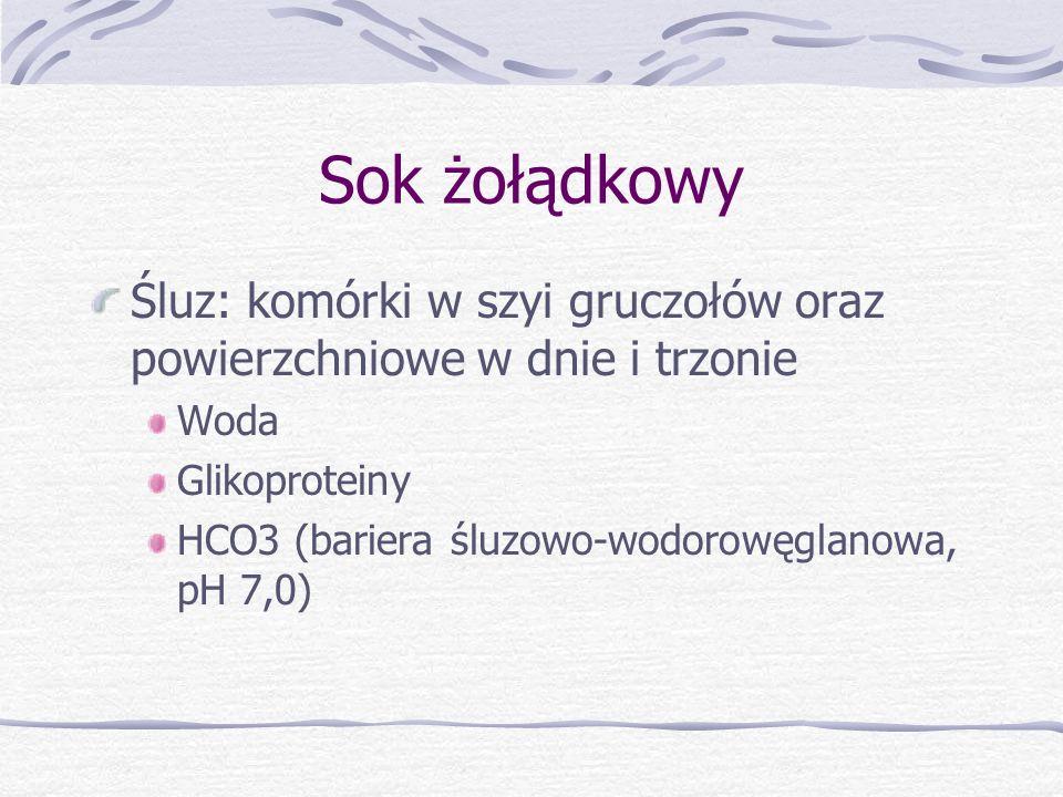 Sok żołądkowy Śluz: komórki w szyi gruczołów oraz powierzchniowe w dnie i trzonie. Woda. Glikoproteiny.