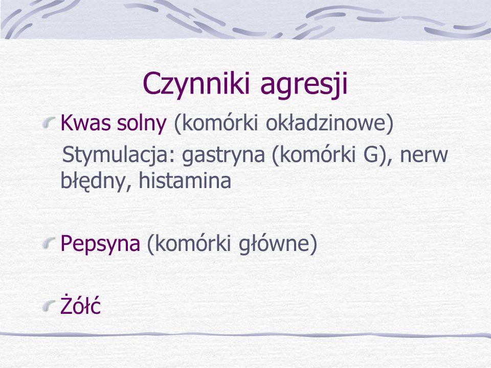 Czynniki agresji Kwas solny (komórki okładzinowe)