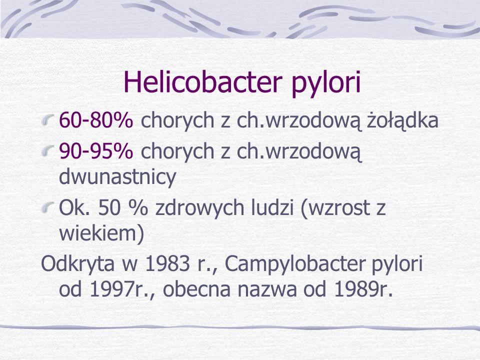 Helicobacter pylori 60-80% chorych z ch.wrzodową żołądka