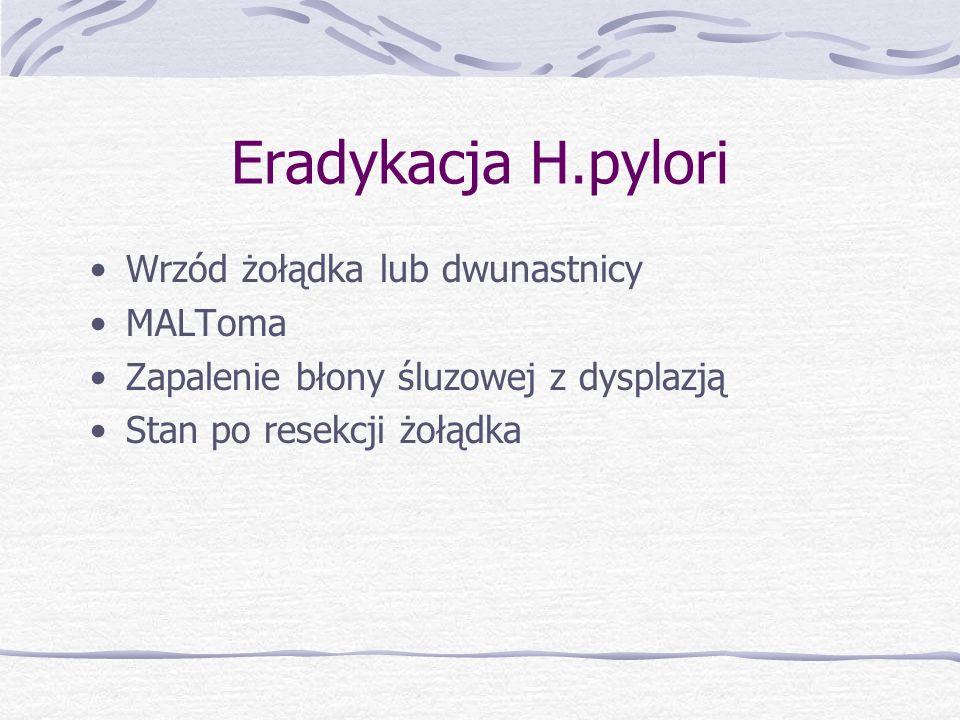 Eradykacja H.pylori Wrzód żołądka lub dwunastnicy MALToma