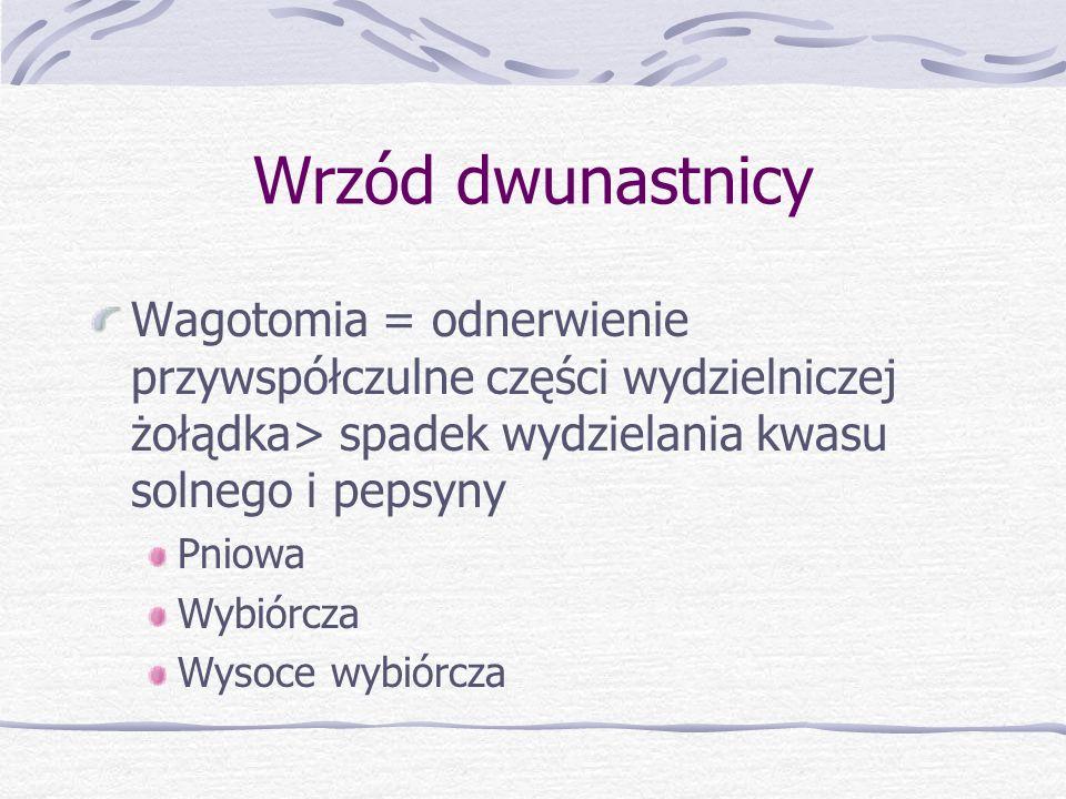 Wrzód dwunastnicy Wagotomia = odnerwienie przywspółczulne części wydzielniczej żołądka> spadek wydzielania kwasu solnego i pepsyny.
