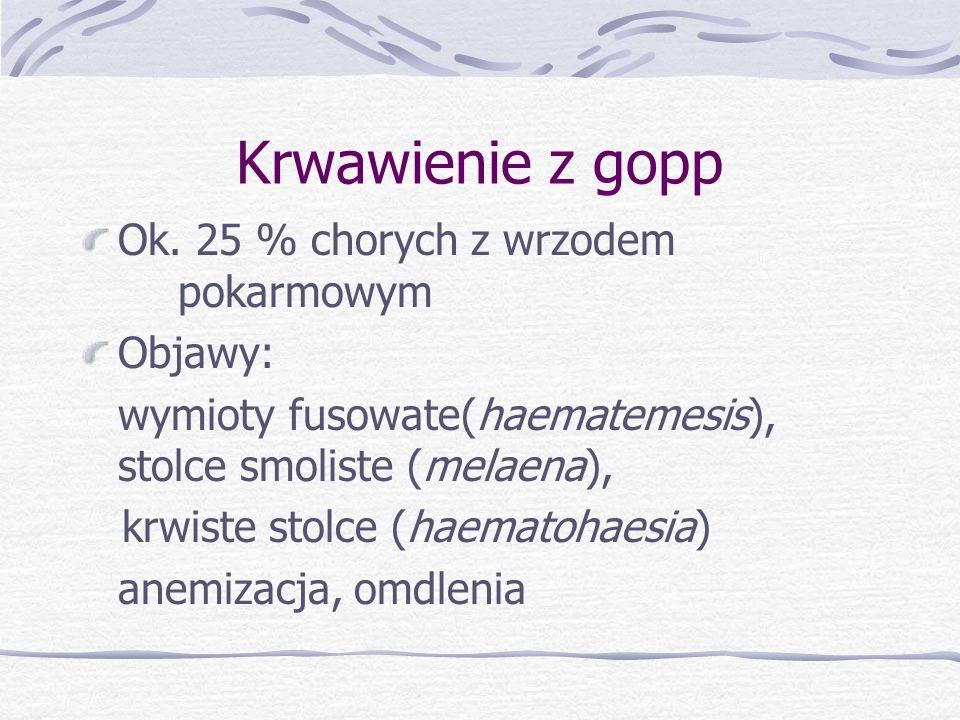 Krwawienie z gopp Ok. 25 % chorych z wrzodem pokarmowym Objawy: